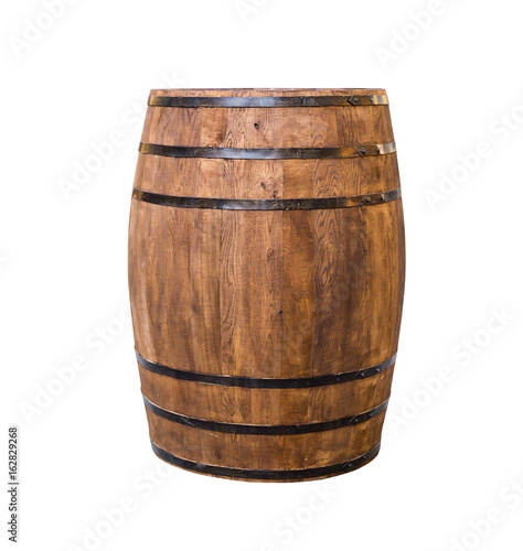 Canvas Print Oak barrel brown with metal hoops on a white isolated background