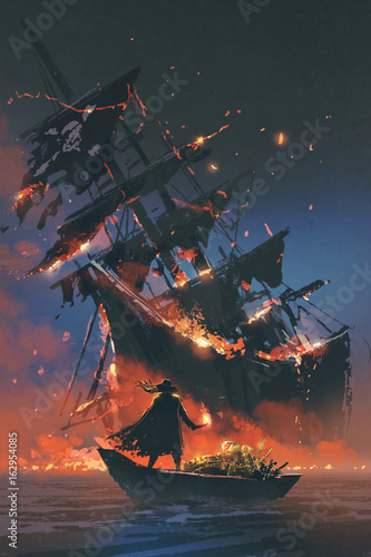 the pirate with burning torch standing on boat with treasure looking at sinking Fototapeta