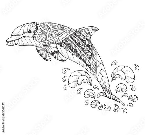 Fototapeta premium Butlonosy skaczący wysoko z pluskiem. Ilustracja wektorowa stylizowane Zentangle i kropkowane. Czarno-biały ilustracja na białym tle. Kolorowanka antystresowa dla dorosłych. Wzór.