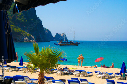 Fotografie, Obraz Pirate ship near coast of Alanya, Turkey