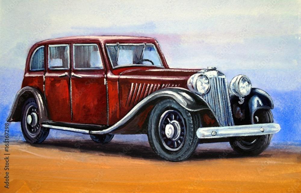 Samochód, retro, tło akwarela, obrazy <span>plik: #163167298   autor: yaroslavartist</span>