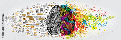 Leinwand Poster Linkes rechtes Konzept des menschlichen Gehirns