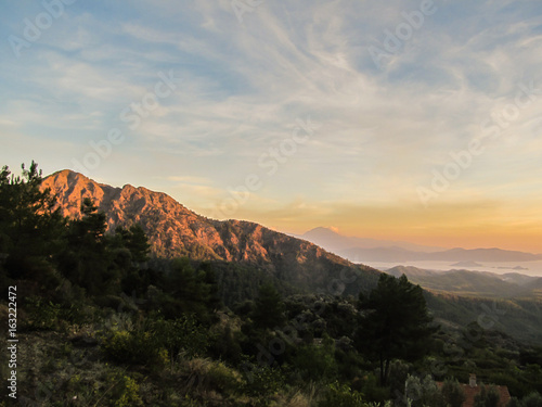 Sunset view from the mountains in Gocek, Turkey - beach town of Fethiye below