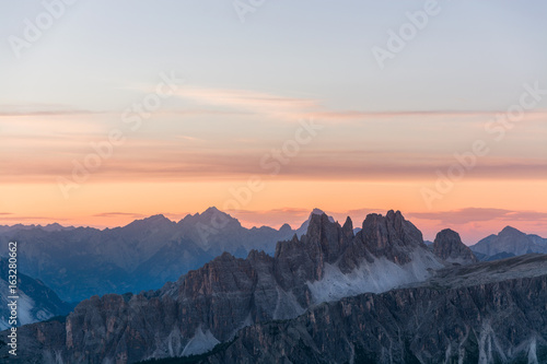 Peaks of dolomite moutains at sunset, Italy