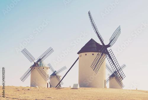 Group of retro windmills