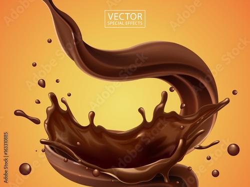 Fotografia Splashing and whirl chocolate