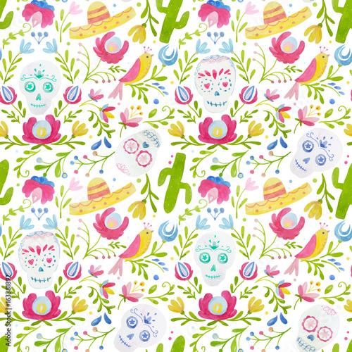 Fototapeta Watercolor vector mexican style pattern