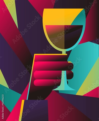colorful hand holding a cup of wine