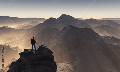 Young man up the mountain