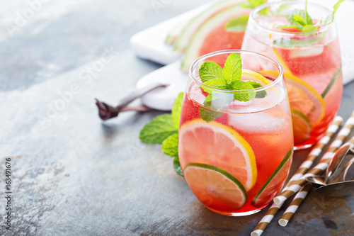 Summer refreshing cocktails with watermelon Fototapeta