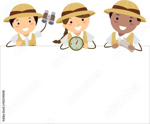 Fotografia Stickman Kids Explorer Board Illustration