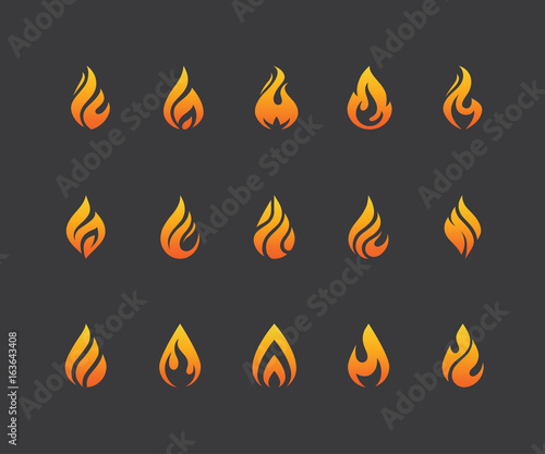 Canvas-taulu Set of fire flame icons and logo isolated on black background.