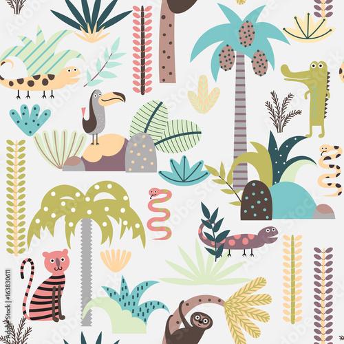 Seamless background with cartoon jungle animals
