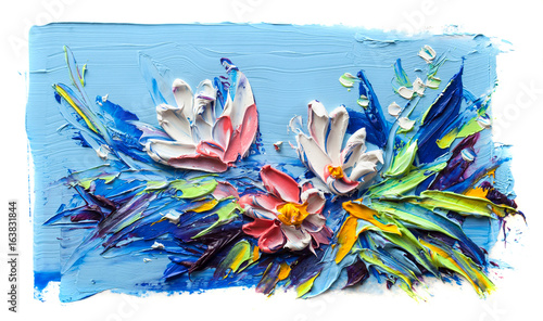 Oil painting flowers. On a white background.