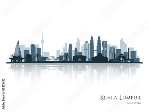 Wallpaper Mural Kuala Lumpur, blue skyline silhouette with reflection