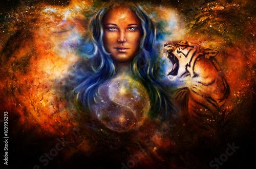 Fototapeta goddess woman and tiger and symbol Yin Yang in cosmic space.