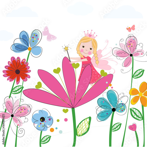 Summer flowers with cute fairy tale. Spring time floral background