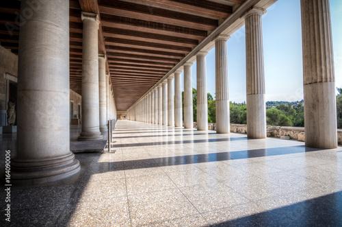 Valokuvatapetti Columns at the Stoa of Attalos in the ancient Agora (Forum) of Athens