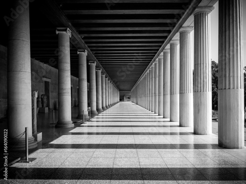Canvas Columns at the Stoa of Attalos in the ancient Agora (Forum) of Athens