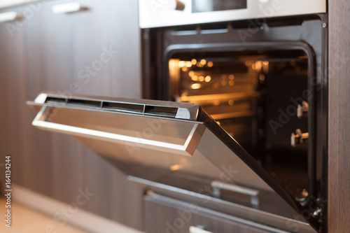 Fotografie, Tablou Empty open electric oven with hot air ventilation