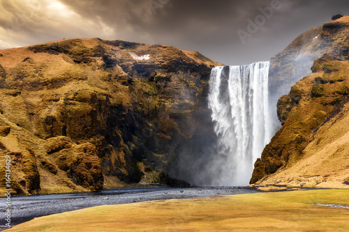 Beautiful view of the magnificent Skogafoss waterfall in Iceland
