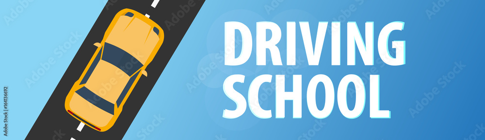 Driving School Banner. Auto Education. The rules of the road. Vector illustration. <span>plik: #164136692 | autor: leo_d</span>