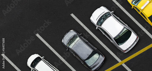 Fotografie, Obraz Top view of Cars on parking lot