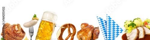 Fotografia, Obraz Oktoberfest Banner mit Bier, Schweinehaxe, Brezel, Weißwurst - Essen und Trinken