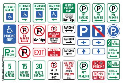 Set of Car Parking Sign. Vector illustration.