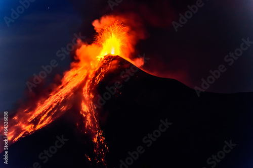 Photo Lava spurts from erupting Fuego volcano in Guatemala