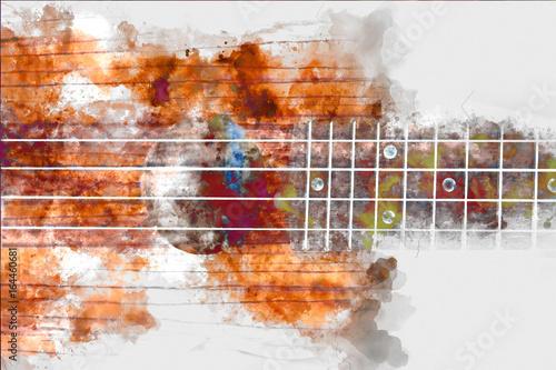 Fotografie, Obraz Beautiful Guitar watercolor background, Guitar isolated.