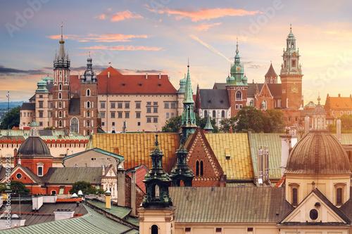 Collage of Krakow landmarks in the evening