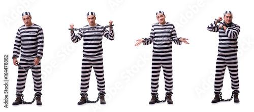 Billede på lærred Man prisoner isolated on white background