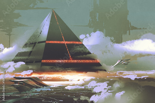 Платно sci-fi scene of futuristic black pyramid floating over earth surface, digital ar