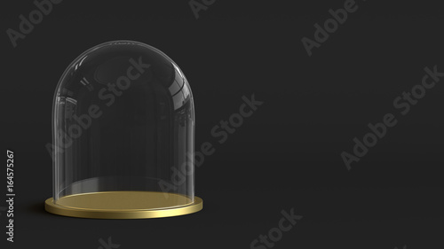 Photo Glass dome with golden tray on dark background. 3D rendering.