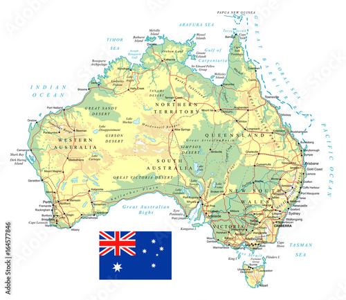 Canvas Print Australia - detailed topographic map - illustration