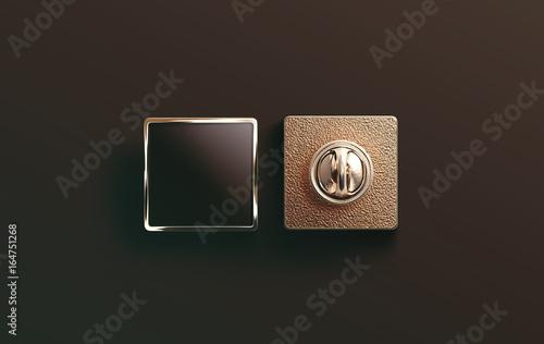 Cuadros en Lienzo Blank gold enamel pin black mock up, front and back side view, 3d rendering