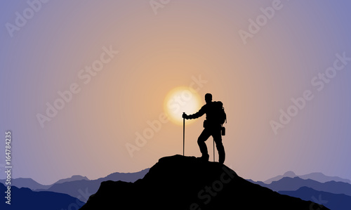 Fotografie, Tablou Explorer, Climber, Mountaineering, Mountaintop, Sunset