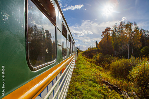 Canvas Print ALUKSNE, LATVIA - OCTOBER 15, 2016: Old steam train is a local attraction