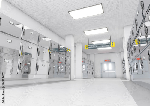 Fotografia A look down the aisle of fridges in a clean white ward in a mortuary - 3D render