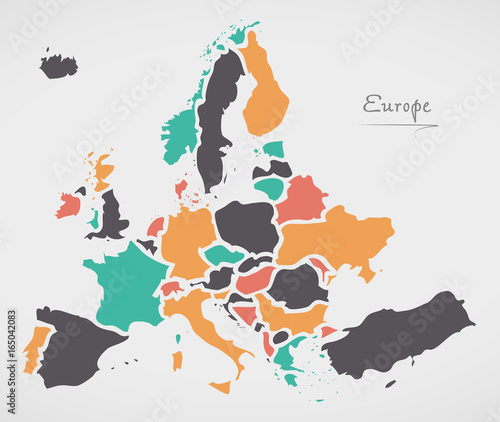 Canvas Print Europe Mainland Map with states and modern round shapes