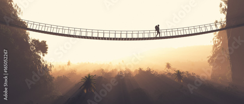 Man rope passing over a bridge
