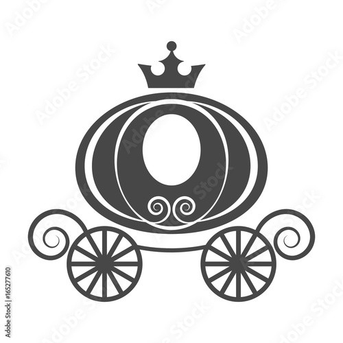 Cuadros en Lienzo Wedding element pumpkin carriage for invitation card isolated vector on white ba