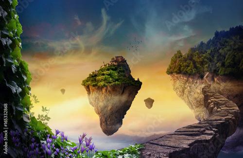 Fototapeta Fantasy world with floating islands