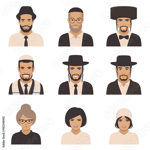 Εκτύπωση καμβά smile jewish people, vector rabbi jew face, orthodox, judaism illustration