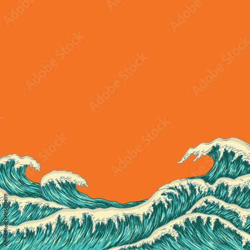 Hand drawn wave. Vector illustration Fototapeta