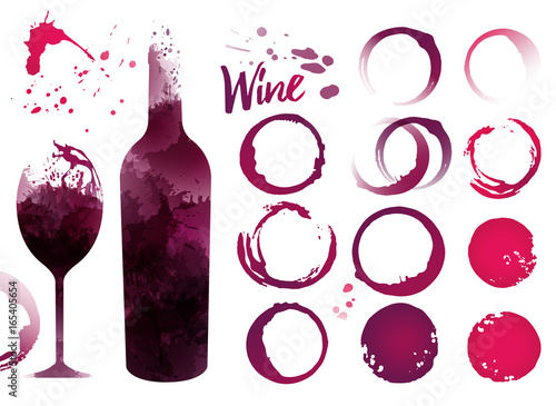 Fototapeta Wine stains set for your designs