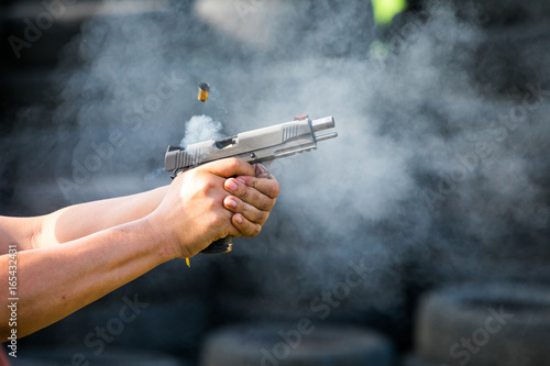 Canvas Print Shooting from a pistol
