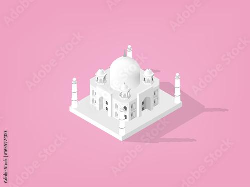 illustration vector isometric design concept of Taj Mahal,India Fototapeta