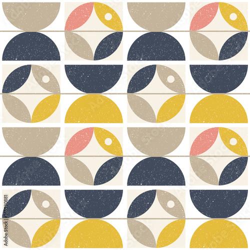 Fototapeta Modern vector abstract seamless geometric pattern with semi circles and circles
